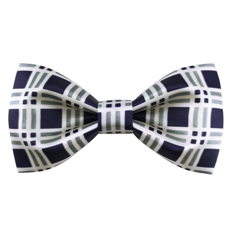 Murong Jun Mens Plaid Pre-Tied Bow Tie Handmade Silk Satin Bowtie