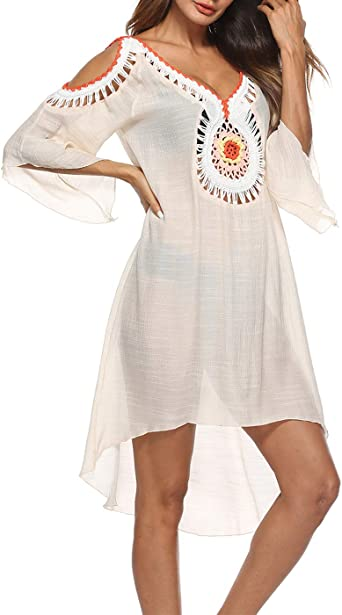 Siaeamrg Swimsuit Cover Ups For Women Crochet Chiffon Off Shoulder Summer Beach Cover Up Dress One Size Beige At Amazon Women S Clothing Store