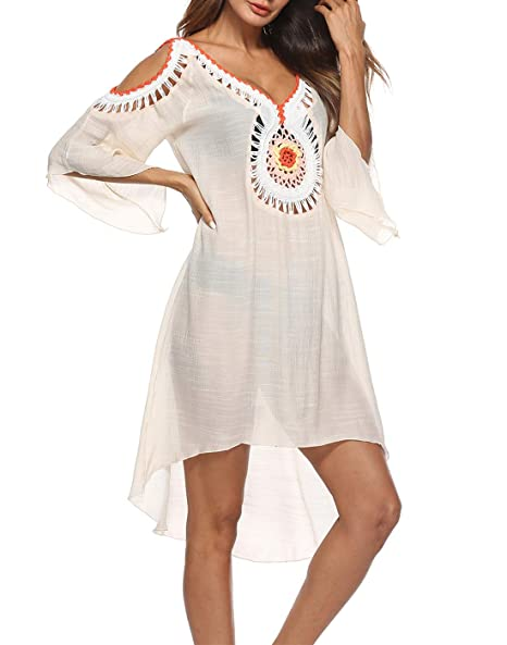 ceaa4ccbc3 SIAEAMRG Swimsuit Cover Ups for Women, Crochet Chiffon Off Shoulder Summer Beach  Cover Up Dress