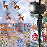 Lightshow Projection 12 Slides Christmas Led Projector Outdoor Indoor - Animated Decorative Holiday Waterproof IP65 Xmas Lighting for Holiday House Party