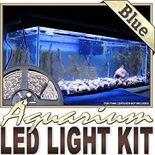 Biltek 2' ft Blue Aquarium Tank Coral Blue LED Backlight Night Light On/Off Switch Control Kit - Main Lighting Sub Fresh Water Salt Water Tanks Reading Water Resistant 3528 SMD Flexible DIY 220V