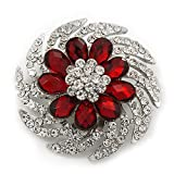 Avalaya Red/Clear Diamante Flower Scarf Pin Brooch In Silver Plating - 5.5cm Diameter