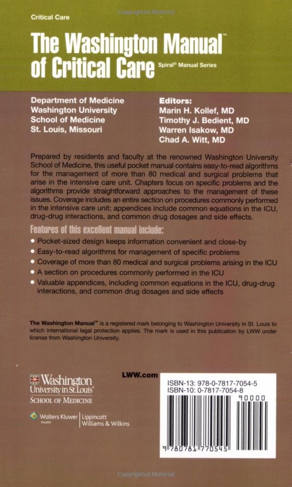 buy the washington manual of critical care an algorithmic approach rh amazon in washington manual of critical care 3rd edition washington manual of critical care 3rd edition free download