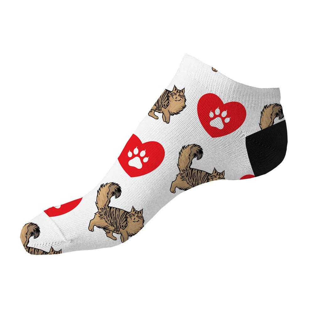 Norwegian Forest Cat Pattern #1 Men-Women Adult Ankle Socks Crazy Novelty Socks