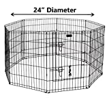 Ultimate Folding Dog Animal Pet Playpen Wire Metal 8 Panel Octagon Black Wire Enclosure Fence Exercise Popup Kennel Crate Tent Portable Gate Cage(Small 24')