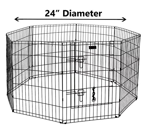 (Ultimate Folding Dog Animal Pet Playpen Wire Metal 8 Panel Octagon Black Wire Enclosure Fence Exercise Popup Kennel Crate Tent Portable Gate Cage(Small 24