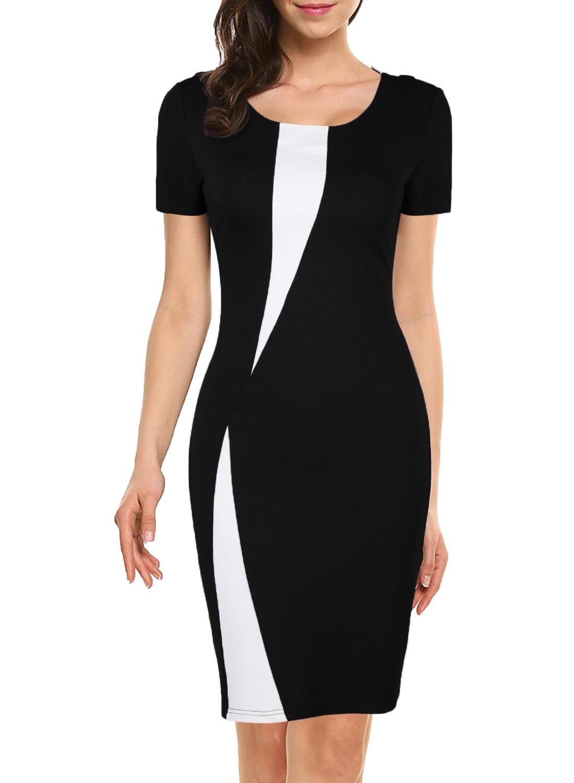 WOOSEA Women's Short Sleeve Colorblock Slim Bodycon Business Pencil Dress (Large, Black) by WOOSEA