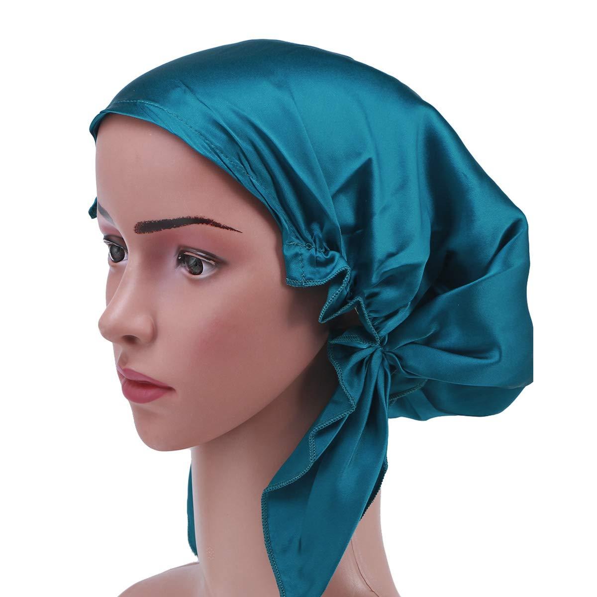 Frcolor Berretto da notte di seta di gelso capelli lunghi bonnet cappello cofano di capelli di notte per le donne ragazze (blu)