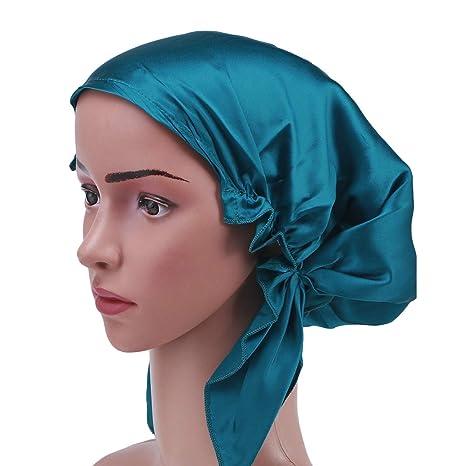 pas mal 25207 b3f1a Frcolor Bonnet de nuit en soie Mulberry bonnet cheveux longs bonnet de nuit  bonnet pour femmes filles (Bleu)
