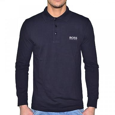 78b86eb1a BOSS Hugo Firenze Classic 50268036 Men's Long-Sleeved Polo Shirt Navy White  - Blue -