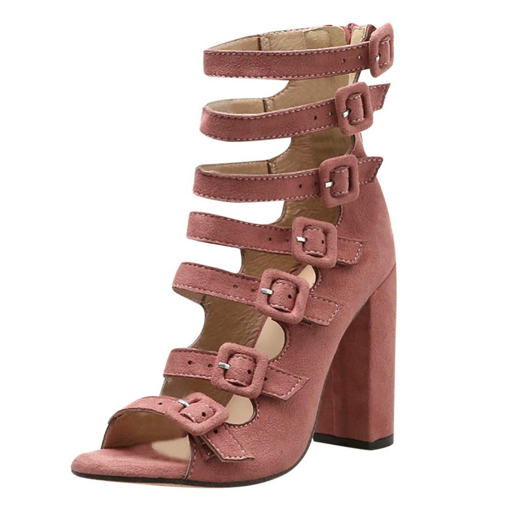 ZOMUSAR New! 2019 Women's Ankle Buckle High Heels Open Toe Sandals High Stiletto Pump Heel Shoes Pink