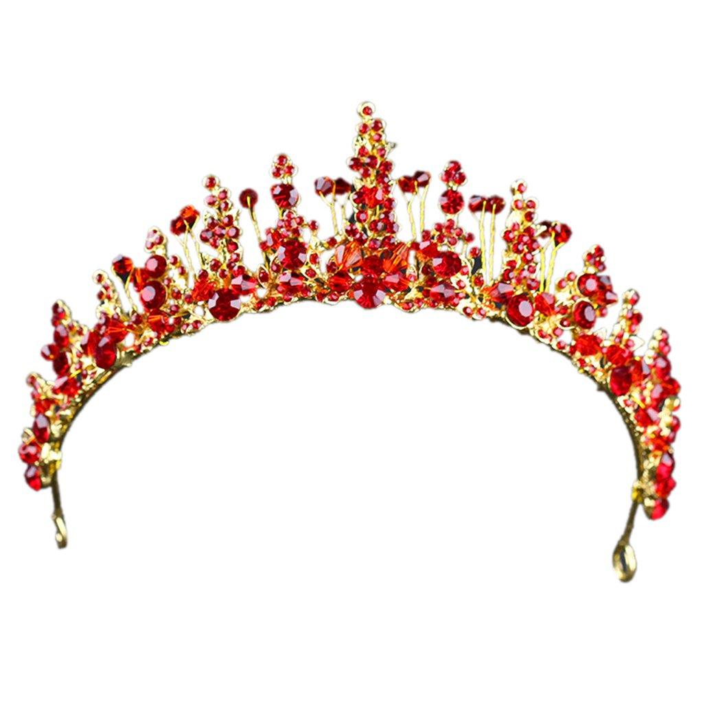 JAGETRADE Rouge Cristal Couronne Strass Mariage Nuptiale Tiara Bijoux Femmes Luxe Vintage