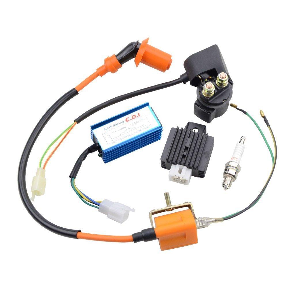 GOOFIT prestazioni di accensione bobina di rel/¨/¨ CDI Candela e regolatore di tensione raddrizzatore per 110cc bici della sporcizia di ATV del motociclo Bule