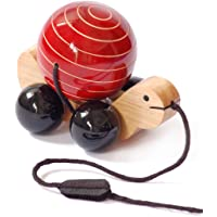 Maya Organic wooden pull toy with rotating ball - Tuttu Turtle