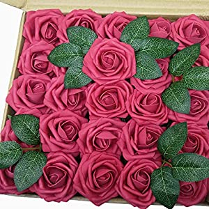 J-Rijzen Jing-Rise Artificial Flowers Real Looking Fake Roses with Stem for DIY Wedding Bouquets Centerpieces Party Baby Shower Home Decorations (Fuchsia, 50pcs Standard) 102