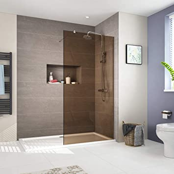 Walk in Duschwand Duschtrennwand 8mm ESG Nano Rauchglas Glas Walk-In Dusche  Duschkabine Duschabtrennung 90x200cm