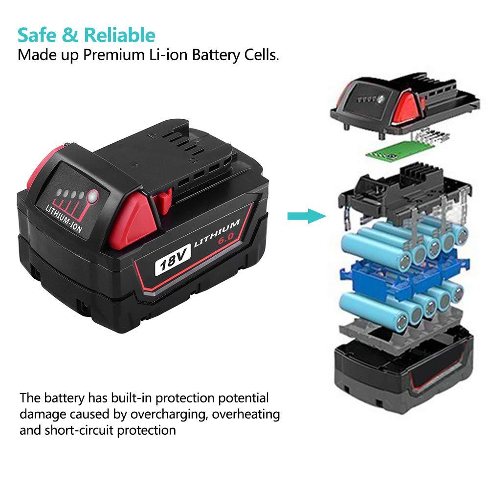 Topbatt Replace For Milwaukee M18 Battery 18v 60ah Xc High Capacity Short Circuit Lithium M18b 48 11 1820 1828 1840 1850 Cordless Tools 2packs