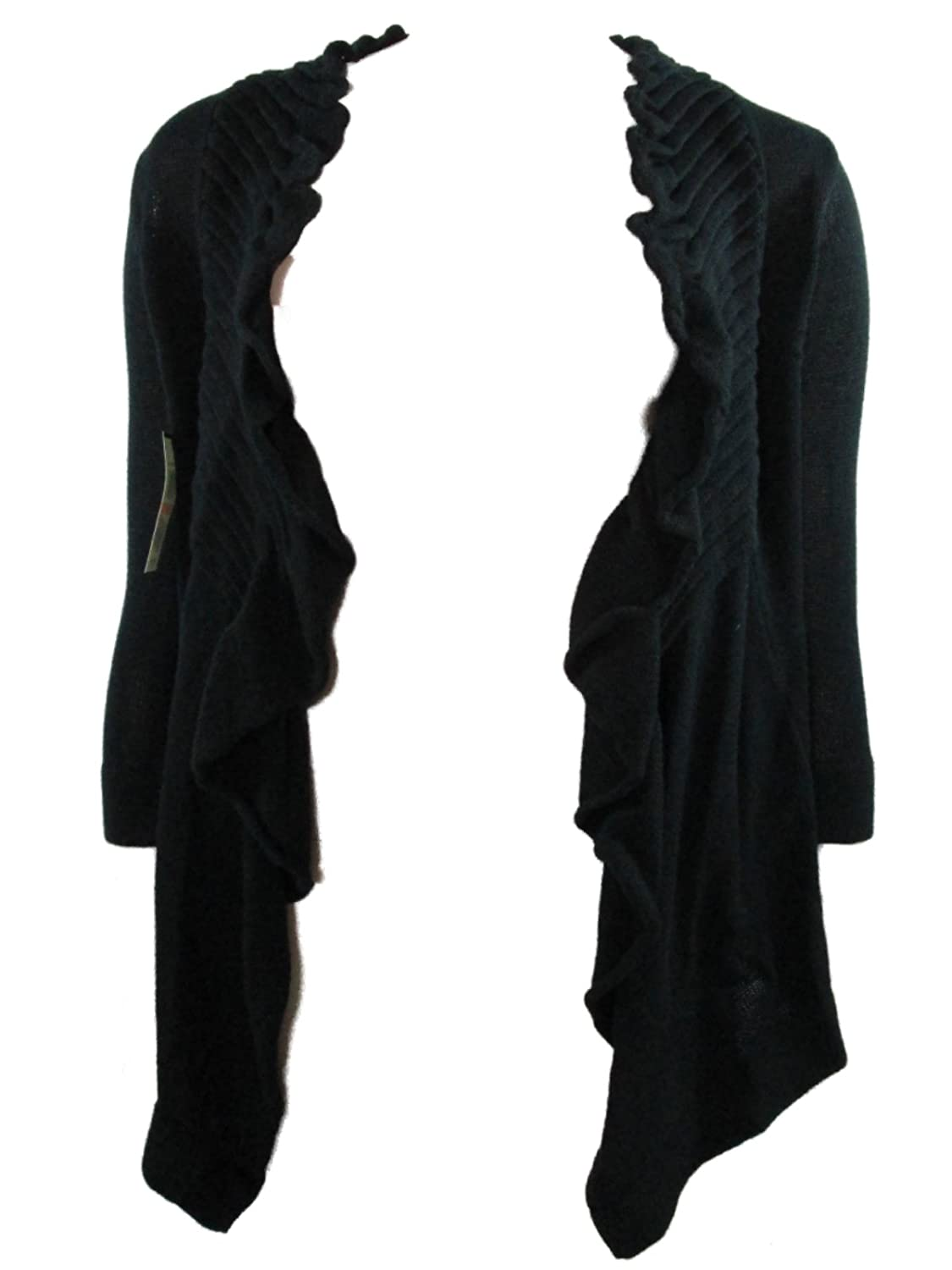 Line Women's Gladys Olympus Ruffled Open Front Cardigan Sweater Small Black