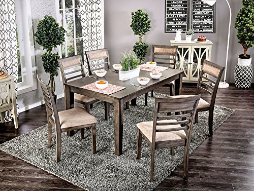 William's Home Furnishing CM3607T-7PK Talyah Dining Table Set, Weathered Gray/Beige - Transitional Style Padded Fabric Cushions Slat Back Chair - kitchen-dining-room-furniture, kitchen-dining-room, dining-sets - 61jSSMNNkfL -