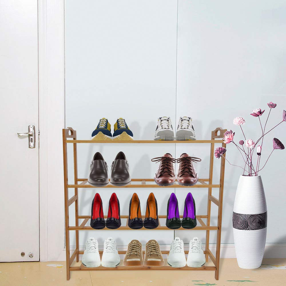 Birdfly Zapatero de bambú con 4 estantes para Zapatos, Organizador ...