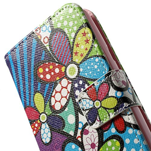 JUJEO Colorful Cartoon Flowers Wallet Stand PU Leather Skin Case for LG L50 D213N - Non-Retail Packaging - Multi