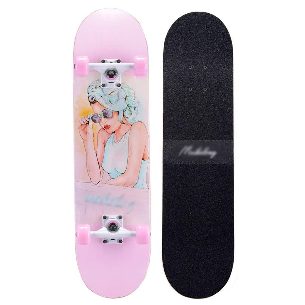 KTYXDE スクーターメイプルロングボードブラシストリートダンスボード四輪ダブルスケートボード初心者ティーンボーイガールプロスケートボード(フラッシュホイール付き) (Color : F) F