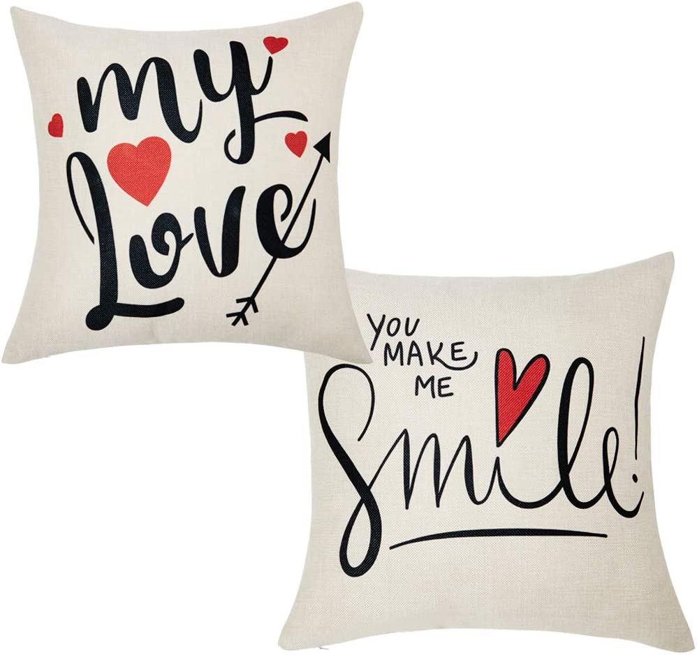 Anickal Valentines Pillow Covers 18x18 Inch for Valentine's Day Decorations My Love You Make ME Smile Quote Set of 2 Decorative Throw Pillow Covers Cotton Linen Cusion Cover for Home Farmhouse Decor