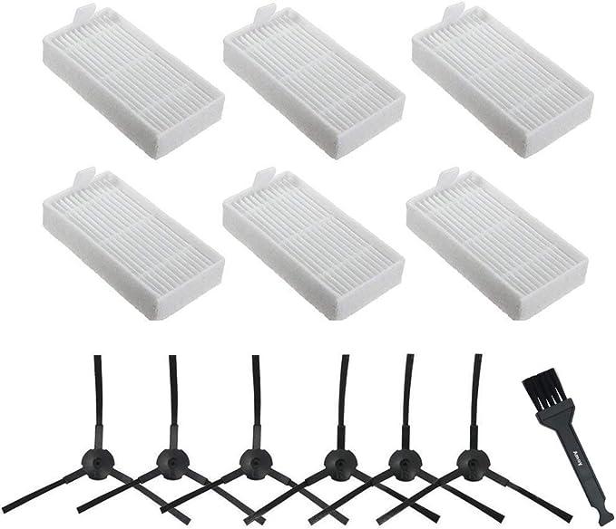 Amoy Kit de recambio Compatible ILIFE V3s V5 V5s V5s pro aspiradoras robóticas. Filtro, cepillo lateral y accesorios.KIT recambio nuevo(6 x Filtros + 6 x cepillos de ...