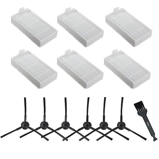 Amoy Kit de recambio Compatible ILIFE V3s V5 V5s V5s pro aspiradoras robóticas. Filtro, cepillo lateral y accesorios.KIT recambio nuevo(6 x Filtros + ...