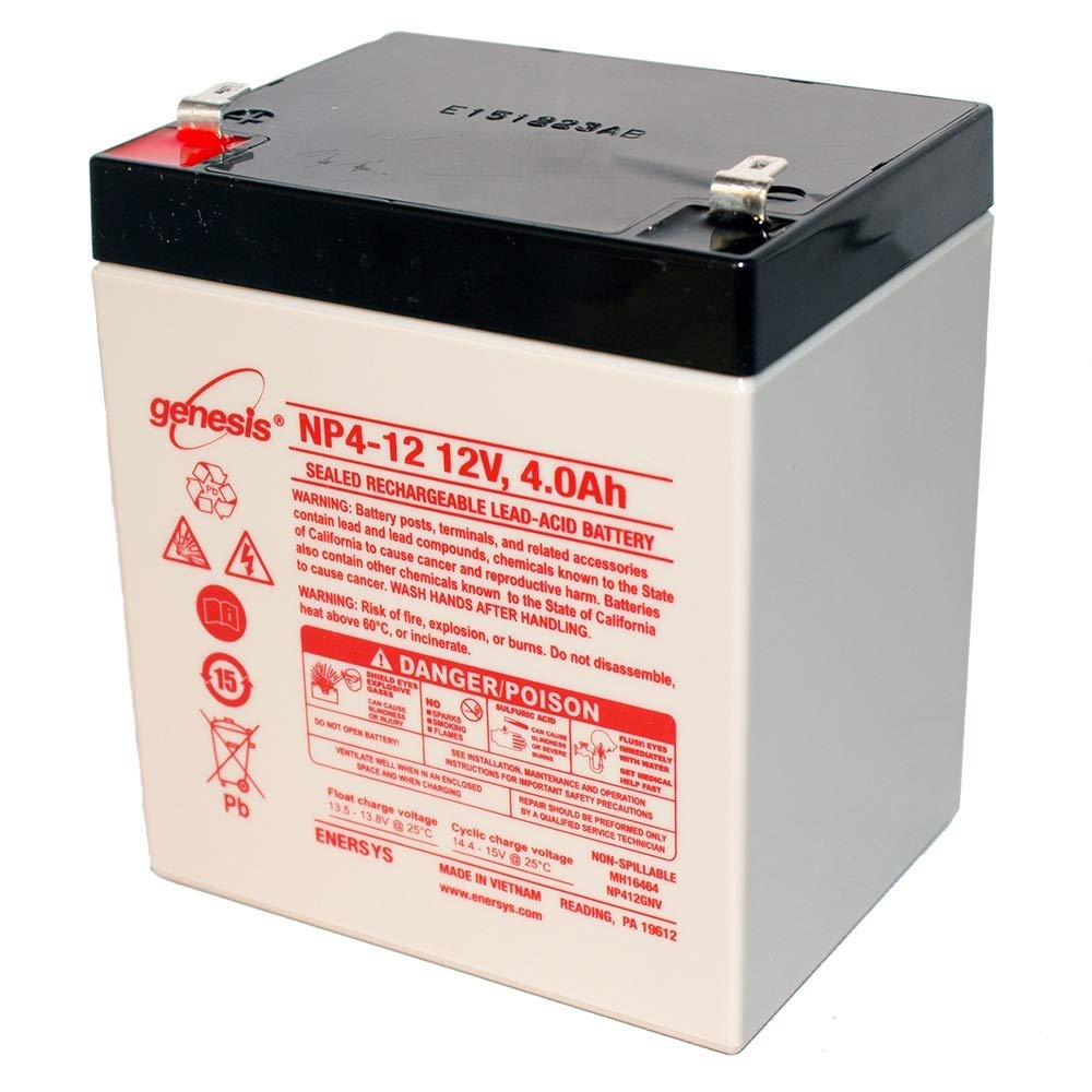 EnerSys Genesis NP4-12 2 Pack 12 Volt//4 Amp Hour Sealed Lead Acid Battery with 0.187 Fast-on Connector