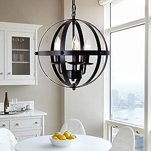 Ganeed Pendant Light,Industrial Globe Pendant Lighting,Vintage Chandelier Spherical Hanging Light,Ceiling Light Fixture for Kitchen Island Dining Table Farmhouse