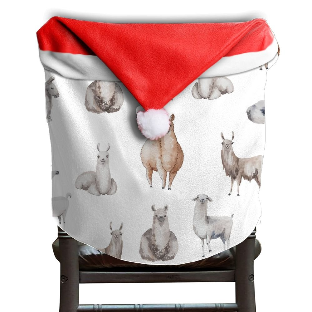 Llama Animal Christmas Chair Covers Unique DURABLE Santa Hat Chair Covers For Unisex Chair Back Cover Christmas Holiday Festive