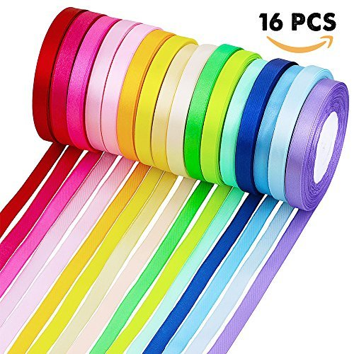 Supla 16 Colors 400 Yard Fabric Ribbon Silk Satin Roll Satin Ribbon Rolls in 2/5 Wide, 25 Yard/roll,16 rolls,Satin Ribbon Fabric Ribbon Embellish Ribbon Ribbon for Bows Crafts Gifts Party Wedding - Coral Silk Ribbon
