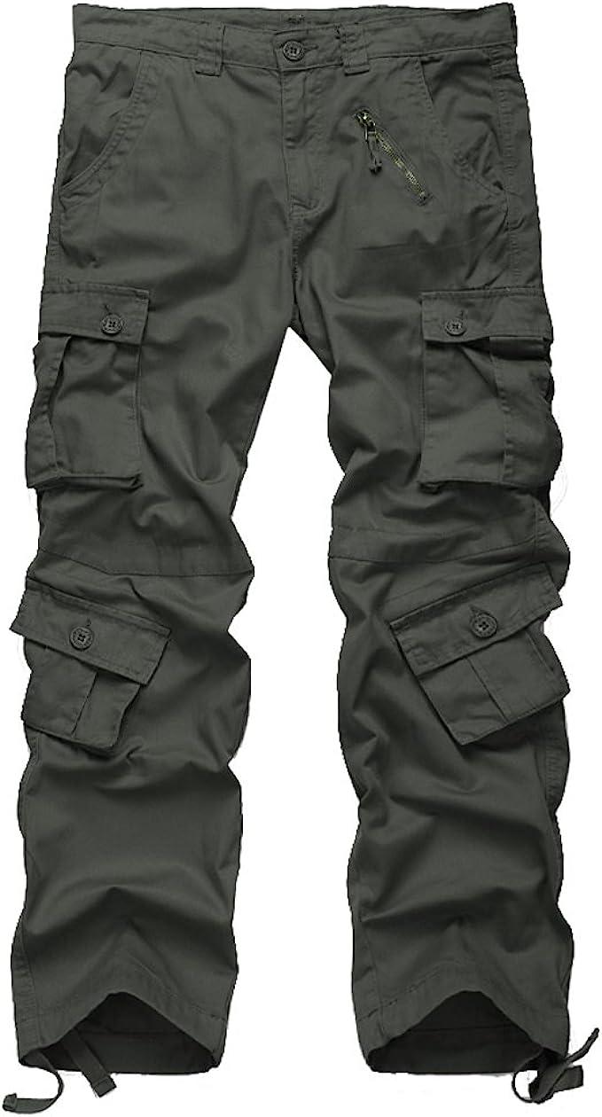 BYWX Men Chain-Trim Cotton Solid Color Plus Size Casual Trousers Military Cargo Pants