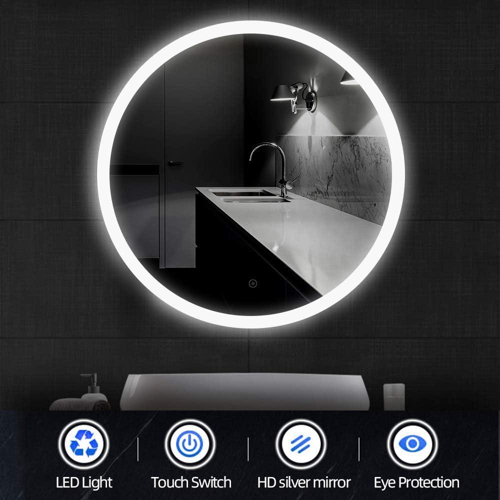Flyelf Rond Miroir de Mur de Salle de Bains,avec Fonction Anti-bu/ée Blanc Froid A, 80 CM Diam/ètre 60 cm // 70 cm // 80 cm Commande par Effleurement,avec Miroir LED
