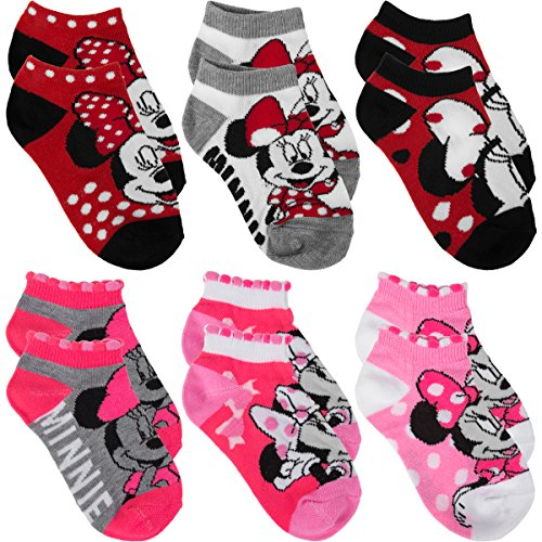 Planet Sox 6 Pairs Of Disney Girls' No Show Socks Kids Toddlers Shoe Size 7-10 Bulk Lot Set (Cute Girl Cartoon Characters)