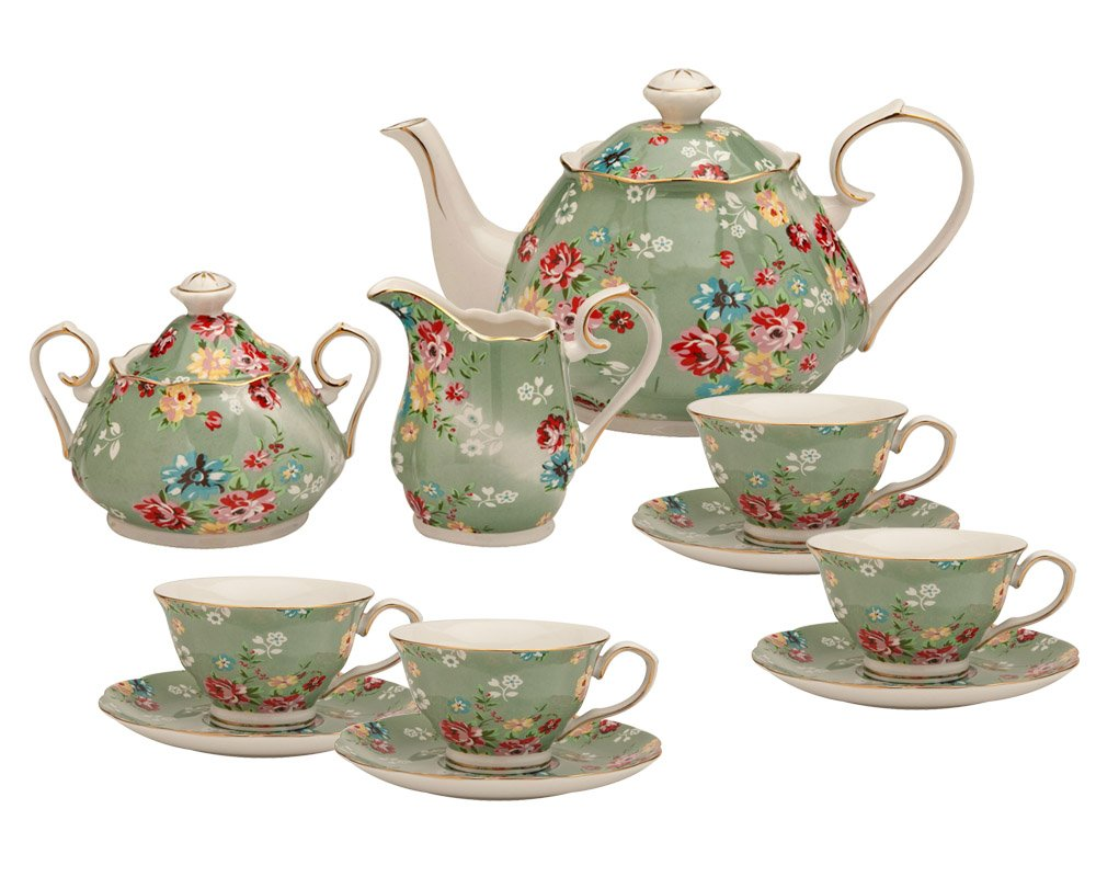 Gracie China by Coastline Imports Shabby Rose Green 11-Piece Tea Set