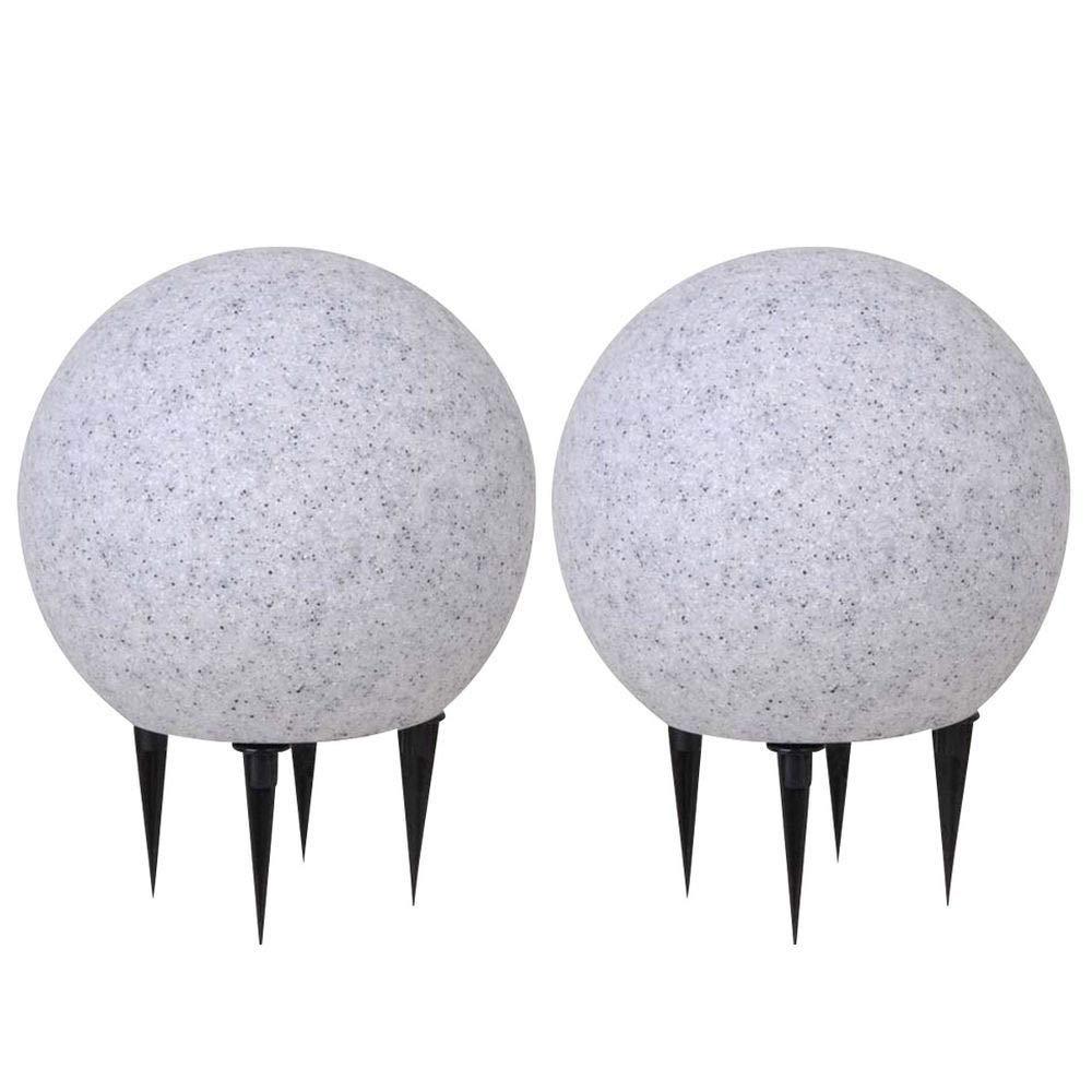 Opalwei/ß, 40cm Au/ßen Kugelleuchten 2er Set mit Erdspie/ß je 5m Kabel-Zuleitung witterungsbest/ändig LED tauglich