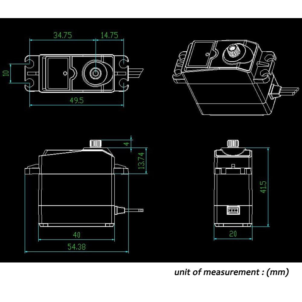 Servo Digitale Alto Momento Torcente 20KG Ingranaggio Completo del Metallo Impermeabile per Il Modello RC DIY Angolo di Controllo di 180 /°