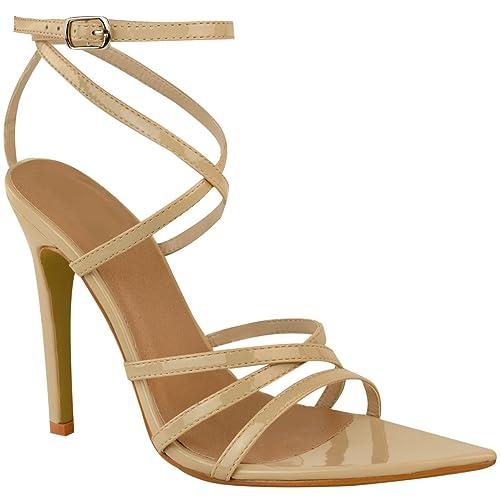 Da Donna con Barely There Tacco Alto Festa Sposa Sandali Cinturini Caviglia Scarpe