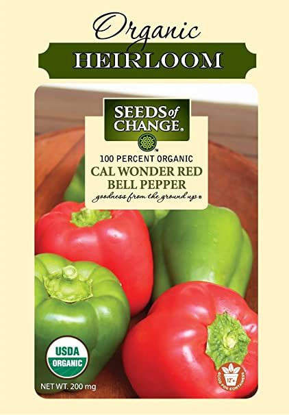 CERTIFIED ORGANIC CALIFORNIA WONDER BELL PEPPER 25ct Heirloom Seed