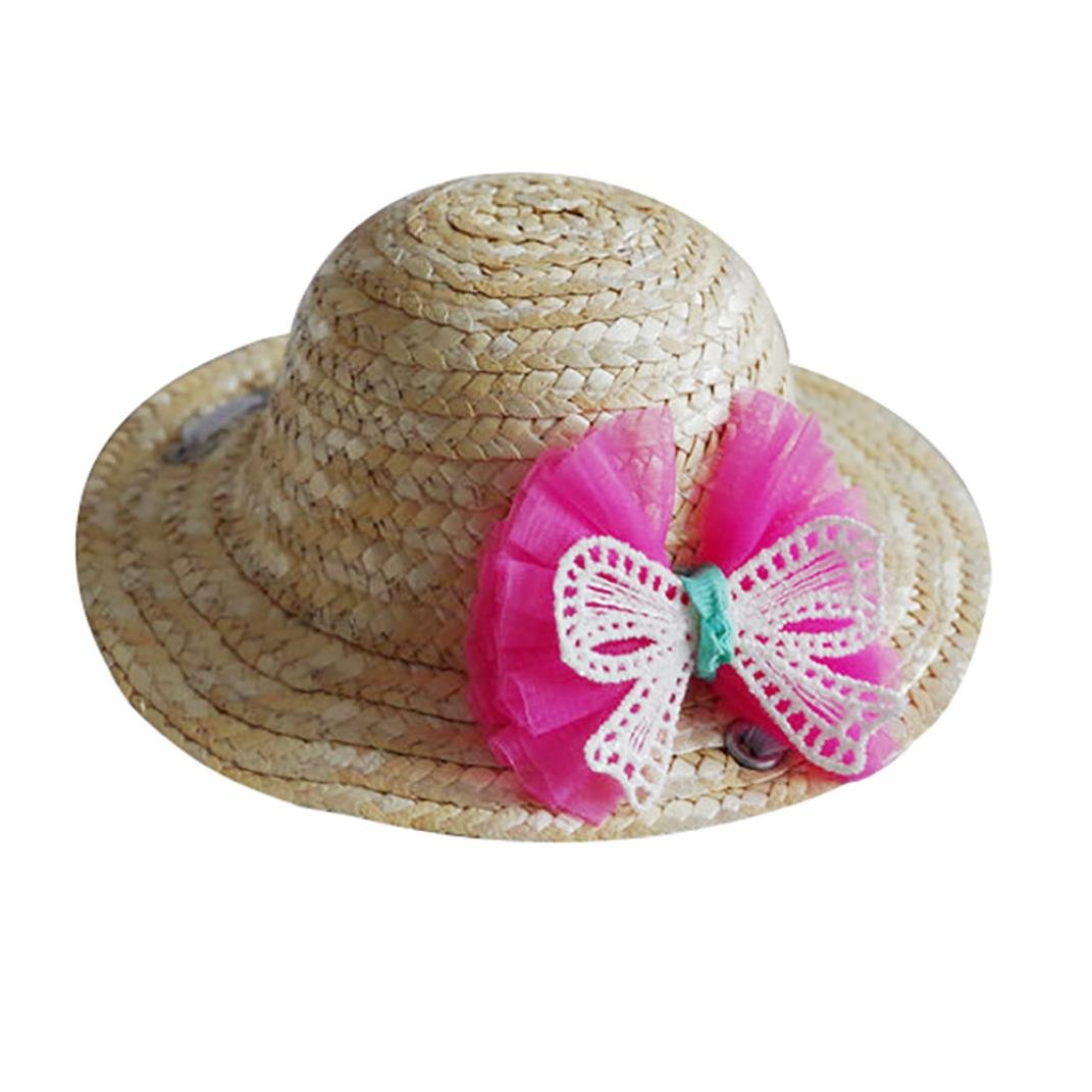 OOEOO Dog Cat Hat Straw Sombrero Pet Adjustable Buckle Cap Costume for Small Puppy (Pink Bow, S)