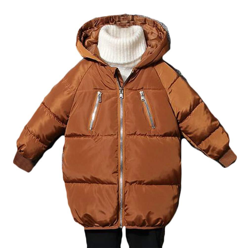 XiaoTianXinChildrenscostumes XTX Boys Padded Winter Down Quilted Hoodid Zip Pocket Jacket Parka Coat Coffee 3T