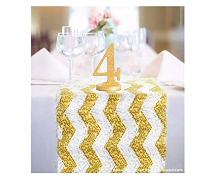 Amazoncom Shinybeauty 14x108 Chevron Sequin Table Runner Light