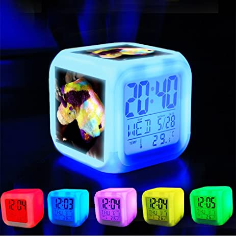 Alarm Clock 7 LED Color Changing Wake Up Bedroom With Data And Temperature  Display (Changable