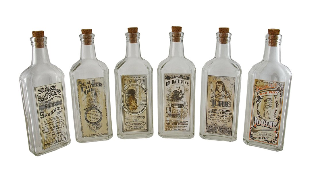 Zeckos Set of 6 Clear Glass Remedies Bottles w/Vintage Look Label