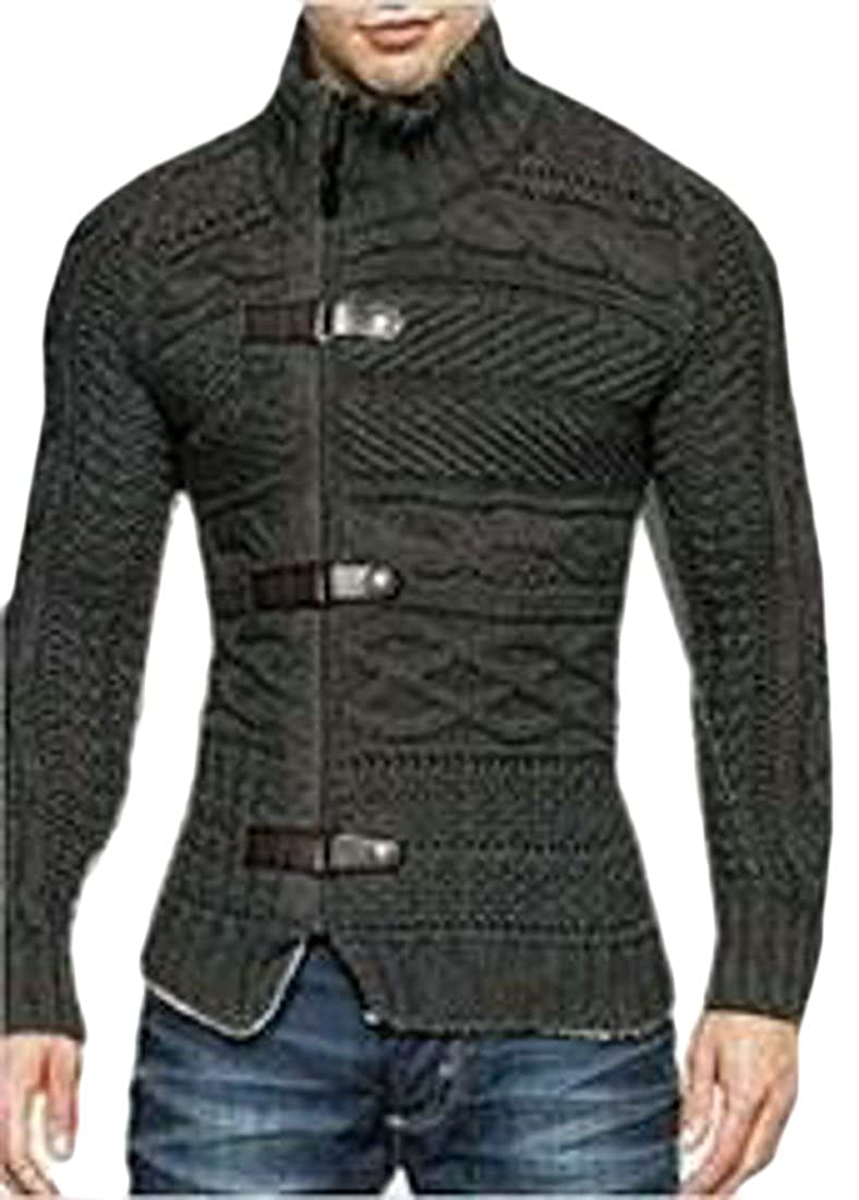 ONTBYB Mens Slim Fit Long Sleeve Horns Button Knitted Sweater Cardigan
