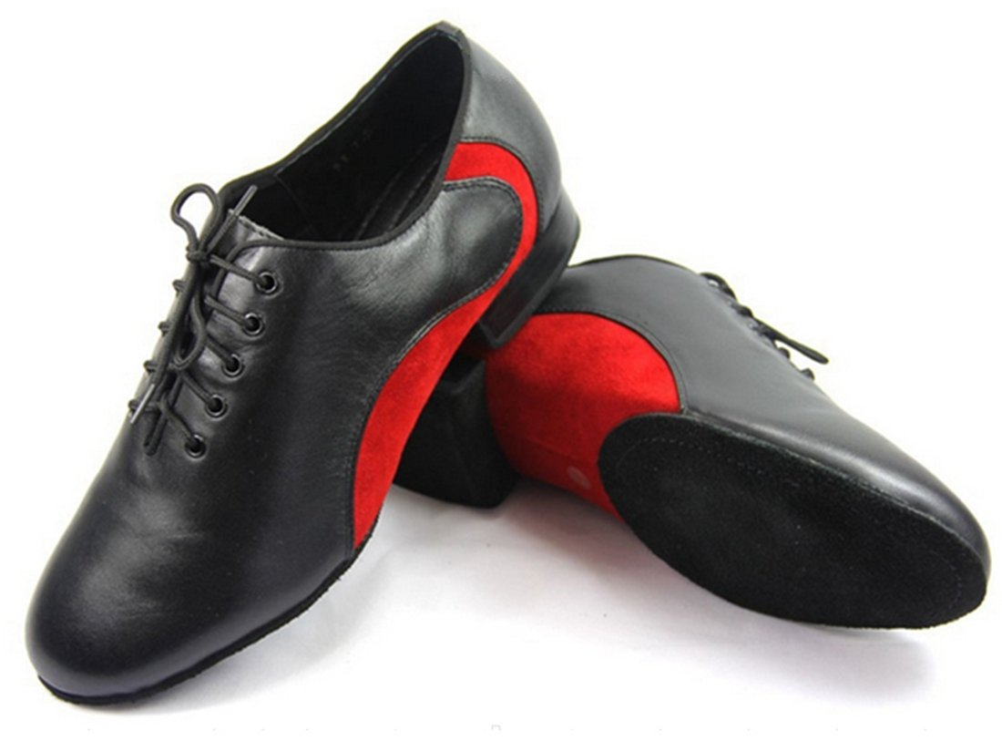 TDA Men's Simple Hot Leather Black/Red Lace Up Dance Shoes Wedding Shoes 10 M US