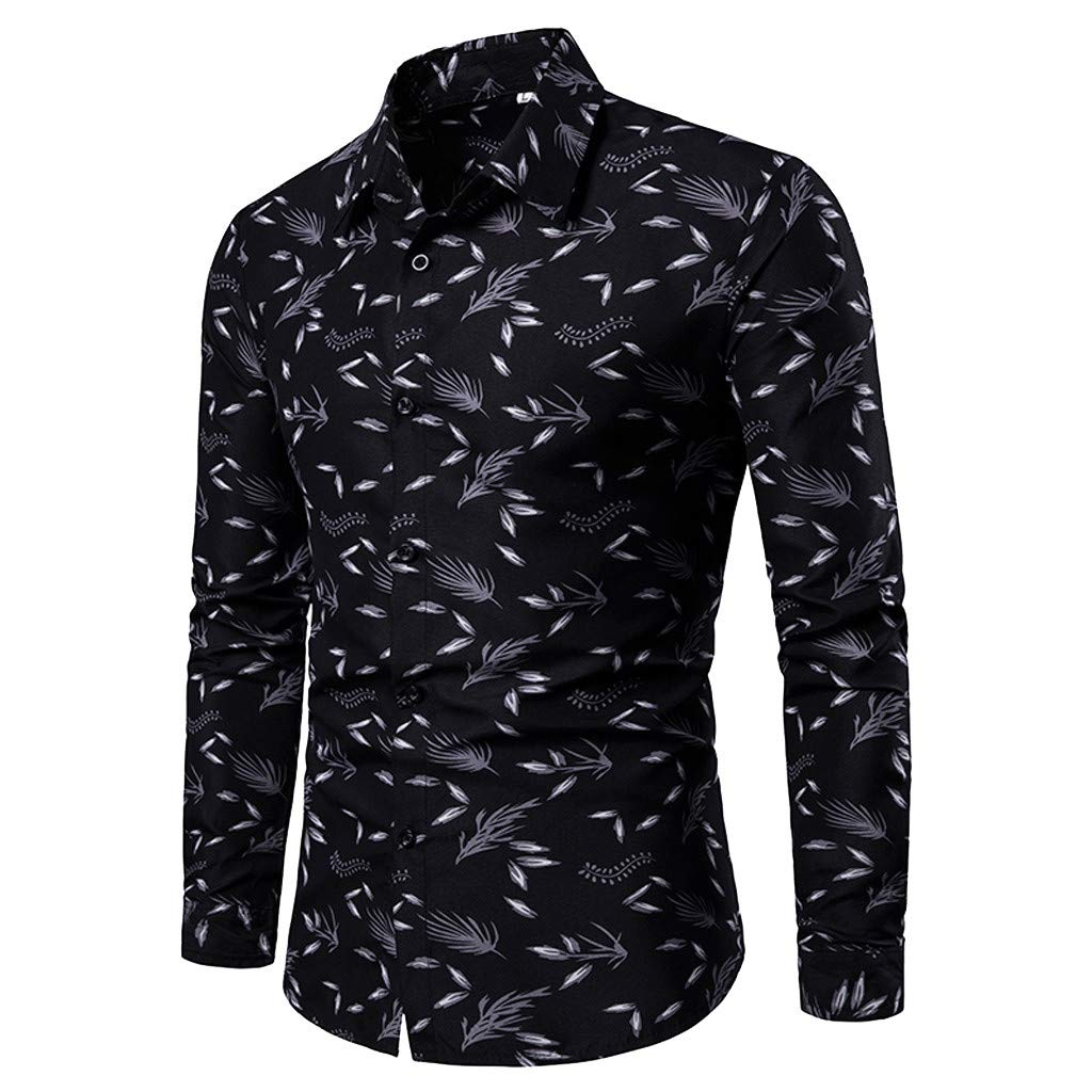 Cool T-Shirts for Teens,Spring and Summer Men's Casual Pattern Stand Collar Button Long Sleeve Shirt,Men's Fashion,Black,M