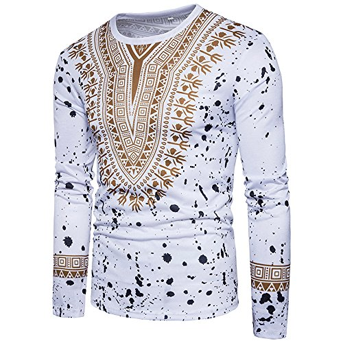 Balakie Mens Blouse African Symbol Spot Print O Neck Pullover Slim T-Shirt Top(White,L)